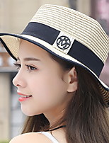 Women Beach Summer Sunscreen Folded Flat Top Standard Splicing Color Straw Hat