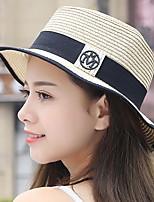 Для женщин На каждый день Соломенная шляпа,Лето Соломка Однотонный Разные цвета