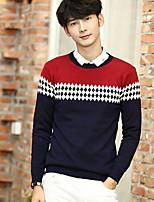 Men's Casual Regular Pullover,Patterned Round Neck Long Sleeve Cotton Spring Fall Medium Micro-elastic