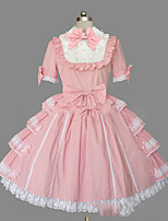 One-Piece/Dress Gothic Lolita Lolita Cosplay Lolita Dress Vintage Cap Short Sleeve Knee-length Dress For