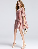 8CFAMILY Women's Daily Date Going out Casual/Daily Cute Street chic Sophisticated A Line Chiffon DressStriped Round Neck Above Knee Short Sleeve