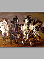 Hand-Painted 4 Horses are Running Modern One Panel Canvas Knife Oil Painting For Home Decoration