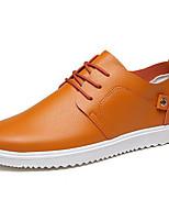 Для мужчин Кеды Удобная обувь Полиуретан Весна Повседневный Белый Черный Оранжевый На плоской подошве