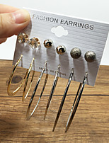 6pairs/set Gold Silver Black Stud Earrings Hoop Earrings Earrings Set Rhinestone AAA Cubic Zirconia Dangling Style Multi-ways Wear Classic DIY Alloy