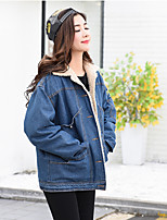 Women's Casual/Daily Vintage Simple Winter Denim Jacket,Solid Shirt Collar Long Sleeve Regular Others