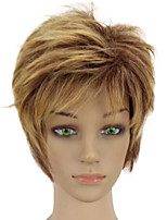 High Temperature Synthetic Fiber Woman Blonde Mixed Short Layered Curly Hair Wigs