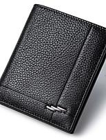 Men Wallets Genuine Leather Short Black Purse High Quality Cowhide Money Bag Casual Credit Card Wallet D6016-2