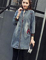 Women's Daily Modern/Comtemporary Spring Denim Jacket,Solid Letter Round Neck Long Sleeve Long Others