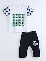Мальчики Наборы Хлопок Геометрический принт Лето С короткими рукавами Набор одежды