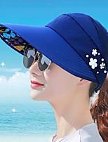 Feminino Chapéu Flor Vintage Clássico Linho Microfibra Verão Chapéu de sol,Sólido Côr Pura Floral