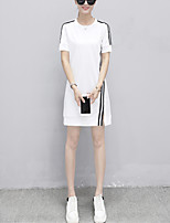 Women's Plus Size Casual/Daily Street chic Slim T Shirt Dress Striped Round Neck Above Knee Short Sleeve Cotton /Polyester Summer Mid Rise