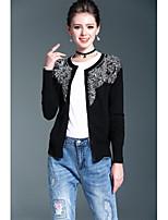 Mujer Regular Cardigan DiarioUn Color Bordado Escote Redondo Manga Larga Algodón Acrílico Primavera Fino Microelástico