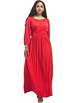 Women's Plus Size Casual/Daily Street chic Loose Dress,Solid Round Neck Maxi Long Sleeve Polyester Cotton Blend All Seasons Mid Rise