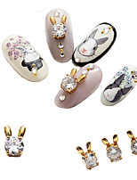 5PCS Super Flash Zircon Inlay Alloy Rabbit Modelling Nail Decorator 5*8MM