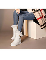 Women's Boots Comfort PU Spring Winter Casual Black White Flat