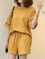 Manches Ajustées Pantalon Costumes Femme,Lettre Couleur Pleine Sportif Décontracté / Quotidien Actif Mignon Eté Manches CourtesCol