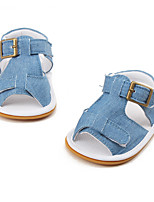 Baby Sandals First Walkers Fabric Summer Casual First Walkers Flat Heel Blue Flat