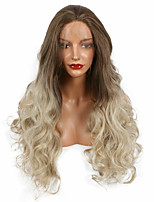 26inch Natural Long Soft Wave Lace Front Wig Synthetic Heat Resistant Hair Brown Ombre Dirty Blonde Wigs