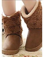 Для женщин Ботинки Удобная обувь Флис Весна Повседневные Удобная обувь Бежевый Кофейный На плоской подошве