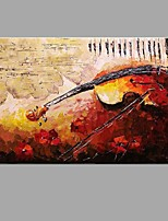 Hand-painted Oil Painting Musical Instruments on a Musical Score Wall Art with Stretched Framed Ready to Hang