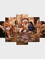 Stampe a tela Stile naturalistico Art déco/Retrò Classico,Cinque Pannelli Orizzontale Stampa Decorazioni da parete For Decorazioni per la