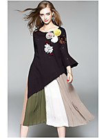 OYCP Women's Daily Midi Skirts Relaxed Color Block Summer