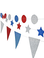 Set Of 3 Round /Star/ Flag/ Bunting Hanging Garland Valentine Birthday Party Wedding Shower Room Decoration Paper Circle String