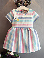 Girl's Stripes Dress,Cotton Polyester Summer Short Sleeve