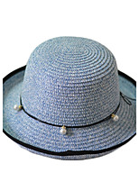 Women Beach Summer Casual Pearl Bow Dome Curling Solid Color Sunscreen Straw Hat