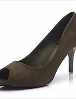 Women's Heels Comfort PU Spring Summer Casual Comfort Nude Green Black 5in & over