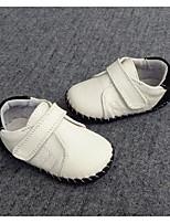 Para Meninos Rasos Primeiros Passos Pele Primavera Outono Casual Caminhada Primeiros Passos Velcro Salto Baixo Branco Rasteiro