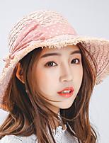 Women's Summer Grass Dot Pattern Bowknot Tassel Sun Straw Big Brim Hat