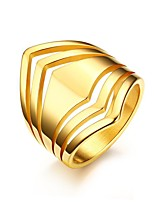 Damen Ring Vintage Elegant Titanstahl 18K Gold Runde Form Schmuck Für Hochzeit Party Alltag