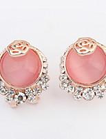 Stud Earrings  Women's Girls' Korean Style Elegant Delicate Opal Rhinestone Round Flower Earrings Set Party Daily Gift Movie Jewelry