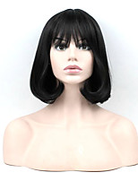 30cm Short Black Color Short Wavy Wig Synthetic High Temperature Fiber For Cosplay Wig