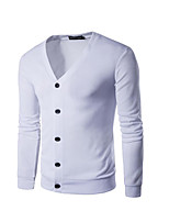Casual/Daily Simple Regular Cardigan,Solid V Neck Sleeveless White Black Orange Cotton Spring Fall Micro-elastic