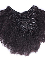 8A Afro Kinky Curly Brazilian Virgin Clip In Hair Extensions Natural Color 12-26Inch