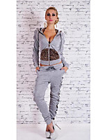 Women's Going out Casual/Daily Sexy Cute Hoodie Pant Suits,Leopard V Neck Long Sleeve Micro-elastic