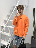 Men's Daily Sweatshirt Solid Quotes & Sayings Round Neck Micro-elastic Cotton Long Sleeve Spring