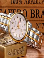 Hombre Reloj de Moda Cuarzo Aleación Banda Casual Plata Dorado