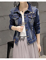 Women's Casual/Daily Simple Spring Denim Jacket,Solid Peter Pan Collar Long Sleeve Regular Cotton
