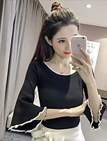 Women's Casual Cute Regular Pullover,Solid Round Neck Half Sleeve Chiffon Satin Summer Thin Inelastic