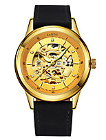 Men's Skeleton Watch Mechanical Watch Automatic self-winding Water Resistant / Water Proof Leather Band Black Brown Gold