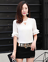 Women's Going out Casual/Daily Sexy Simple T-shirt Skirt Suits,Solid Crew Neck 1/2 Length Sleeve