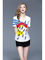Tee-shirt Femme,Imprimé Décontracté / Quotidien Sportif Vacances simple Chic de Rue Printemps Eté Manches Courtes Col Arrondi Coton Fin