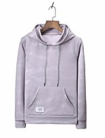Men's Casual/Daily Sports Hoodie Solid Hooded Micro-elastic Polyester Long Sleeve Fall