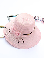 Women's Fashion Handmade Flowers  Bucket Sun Hat Handmade Flower Striped Spring/Fall  Summer Hats