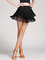 Latin Dance Tutus & Skirts Women's Training Crystal Cotton Tulle Tassel 1 Piece Dropped Skirts