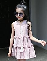 Vestido Chica de Color Sólido Algodón Nailon Sin Mangas Verano