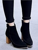 Для женщин Ботинки Удобная обувь Замша Весна Повседневный Черный Серый На плоской подошве